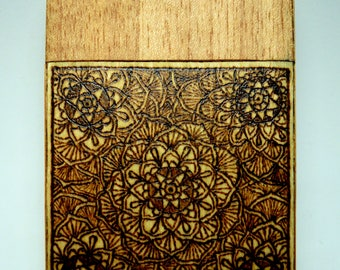 Wooden cigarette box (anigre and white beech wood) with burned in mandalas