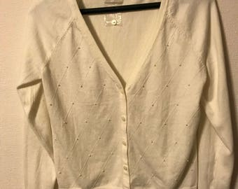Women's Ivory Merona sweater with pearls NWT