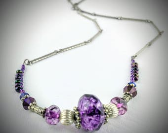 Purple and silver glass bead necklace, 23 inch, perfect gift for her, mom, sister, wife, girlfriend, best friend