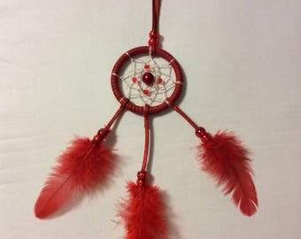 Handmade mini dream catcher Red