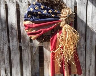 Vintage Look Tea Stained American Flag w/ Burlap Flower Wreath