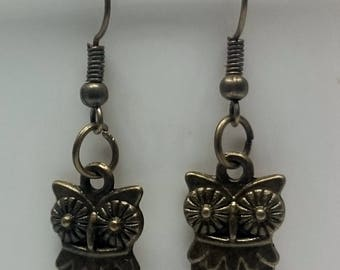 Antique Bronze Colour Owl Charm  Wired Hook Earrings