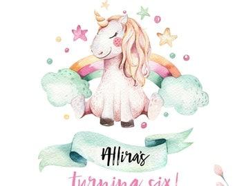 Personalized unicorn birthday party invitation