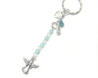 angel keyring, angel bag charm, angel wings keyring, thinking of you gift, thinking of you, memorial keepsake, handmade keyring, beaded key