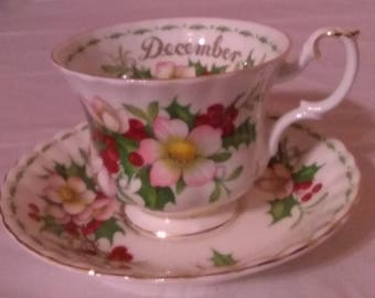 Royal Albert Bone China Flower Of The Month Series Christmas Rose Cup and Saucer