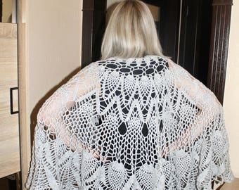 Openwork cape Knitted cape Gray cape Openwork handkerchief Woolen shawl Present for mother's day Shawl for mother