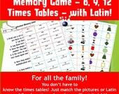 Multiplication Matching Game Printable/ Memory Kids Game Cards/Games to print/ times tables games ks2 /math games for grade 4/ NinaLaZina