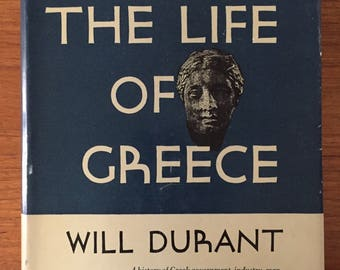 1939, The Life of Greece, by Will Durant, a history of ancient Greek civilization, vintage blue hardcover history book
