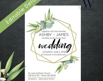 Greenery Eucalyptus & Gold Geometrical Wedding Invitations, Woodsy wedding Invitations, Geometric wedding invitation set, Instant download