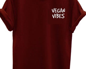 Vegan Vibes Kale Plants Vegetarian, T-shirt fashion woman top slogan tee t shirt
