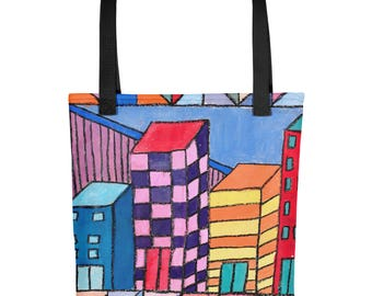 City Blocks - Amazingly beautiful full color tote bag with black handle featuring children's donated artwork.