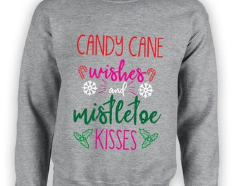 Candy Cane Wishes Mistletoe Kisses Sweater Christmas Sweater Mistletoe Sweater Candy Cane Sweater Christmas Gift Gift for Christmas TSC027