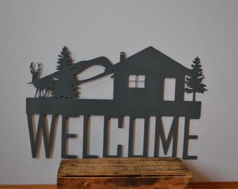 Scenic Cabin Welcome Sign