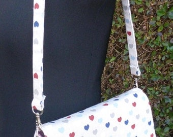 Handed Shoulder bag, Clutch bag, Hearts pattern, lined with paisley pattern cotton