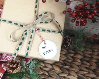 Ceramic gift tags, White clay tags, Rustic Christmas Decor, Set of 3 Christmas gift tags