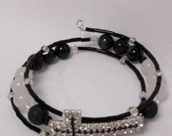 Essential Oil Diffuser Bracelet of  White Jade, Carnelian, Rhineston Cross Charm & Lava Rocks on Memory Wire
