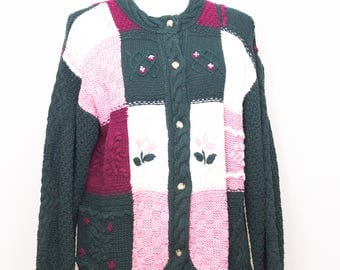 Vintage Cape Isle Knitters hand knit cotton blend cardigan