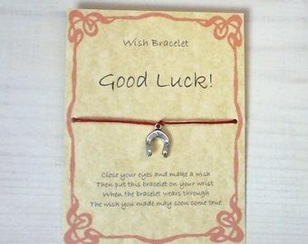 Handmade Gift Card, Wish Bracelet for Good Luck. Good luck Horseshoe charm, cotton waxed cord.