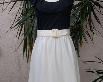 1970's cream skirt, belted, midi, high waist, vintage
