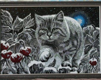 Picture embroidered with beads, handmade