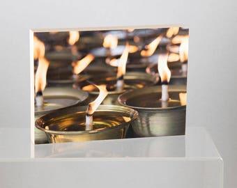 Candles, mounted on Wood Panel