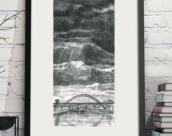 Tyne Bridges Charcoal Illustration Digital Print