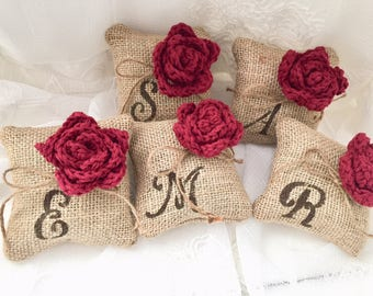 Monogramed flower Pillow, *Wine Red* Burlap pillow,Mini Pillow, 1 or Set of 3,4,5, Bridesmaids gift,Monogram gift, Red wedding,Wedding Decor