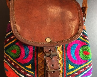Small ethnic hippie leather shoulder bag, cross body purse with embroideries