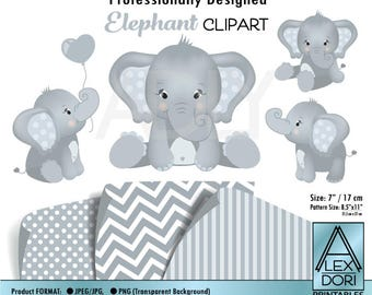 Elephants Clipart, digital clipart, png clipart, elephant for nursery, elephany baby shower, soft white and gray, commercial clip art