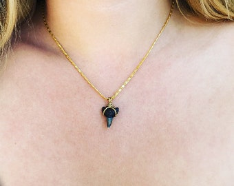 Shark Tooth Necklace on Cuban 18k Gold filled Chain