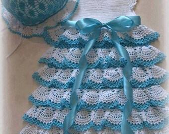 Dress + hat for girls crochet in soft wool handmade