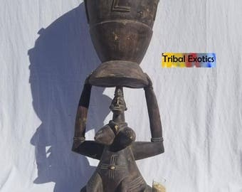 TRIBAL EXOTICS : PREMIUM Authentic fine tribal African Art - Senufo Senoufo Drum Wood Figure Sculpture Statue Mask