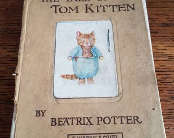 First Edition The Tale of Tom Kitten by Beatrix Potter Antique Collectable book. Printed by F. Warne and Co 1907.