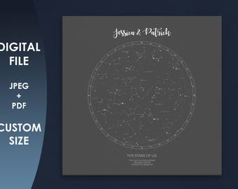 CUSTOM STAR MAP  Print Personalised Star Chart Poster Map of Stars Constellation Gift Under This Sky downloadable Personalized Night Sky