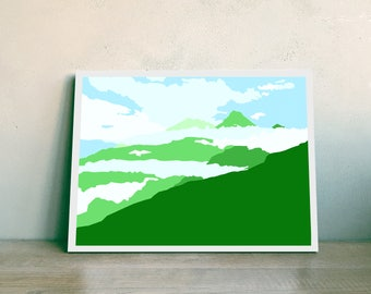 Blue and Green Mountain Wall Art, Minimalistic Decor, Printable Art, Instant Download