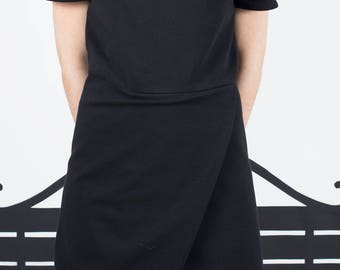 Black sheath wool dress, dress with v-neck and wallet skirt
