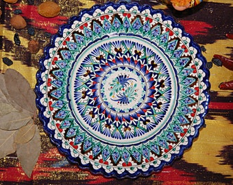 Uzbek decorative ceramic handmade painted plate 0001