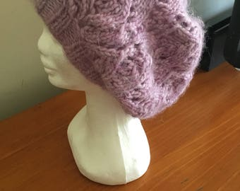 Handmade Lacy Slouch Knit Beanie In Sunset Purple