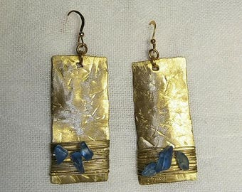 Handmade earrings made from hammered metal brass and semiprecious stones