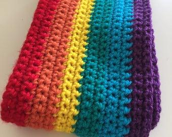 Pride Rainbow Crochet Scarf