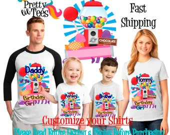 CANDYLAND Birthday Girl Theme Family WHITE Shirts For the Entire Family Mom Dad and More T-shirts Long/ Short sleeve Raglan CANDY land