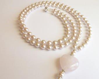 Beaded Lanyard,  Pink Pearl ID Badge Lanyard,Pink Eyeglass Chain, Pearl Lanyard, ID Badge Holder, Badge Holder,Pearl Necklace