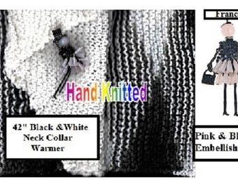 "Zebra 42"" Collar Neck Warmer   (Black & White Diamond)"