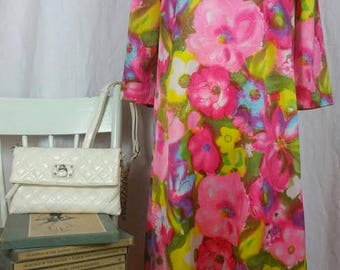 Vintage 60s Yellow Pink Blue Floral Dress Psychedelic Mod Dress Size 12