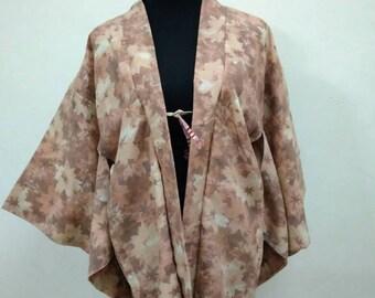 Japanese haori kimono brown floral silk kimono jacket /vintage kimono cardigan/kimono robe/#031