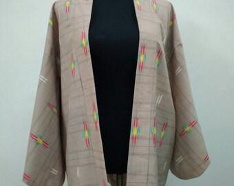 Japanese haori kimono brown geometric kimono jacket /kimono cardigan/vintage kimono robe/#061