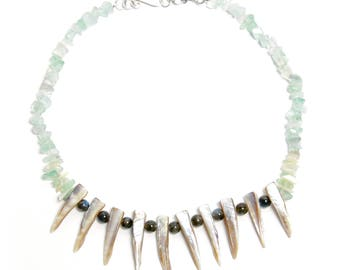 Fluorite, Labradorite, and Mother of Pearl Spikes Choker