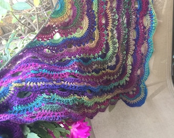 "Handmade Shawl Scarf ""Stained Glass"" Crochet"