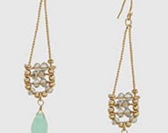 Aventurine Semi Precious Bead Drop Earrings