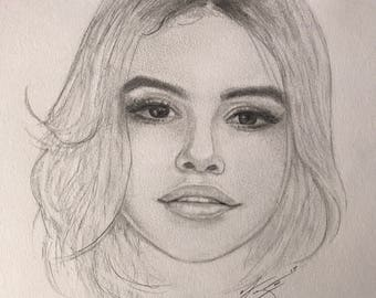 Selena Gomez Drawing Print 11 x 14